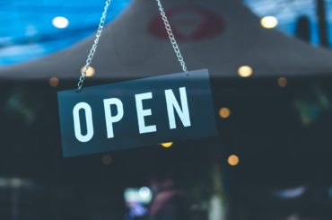 open sign at business door